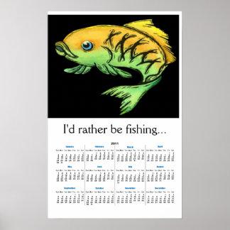 Kalender 2011 för tecknadfiskvägg print