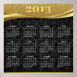 Kalender 2013 med guld- lyx- & svartdamast affisch