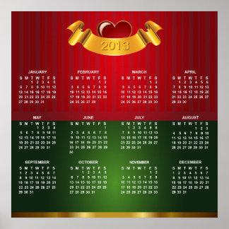 Kalender 2013 med guld- röd grön lyxig struktur poster