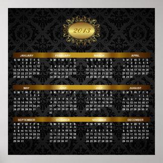 Kalender 2013 med svart damast- & guldlyx posters
