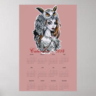 Kalender 2014 för uggladamhäxa poster