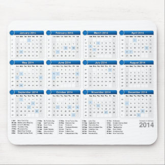 Kalender 2014 med helgdagar musmatta