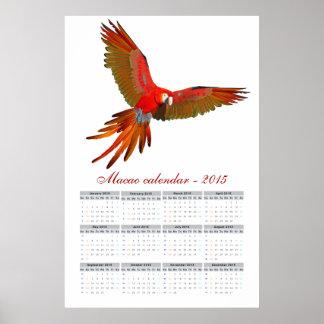 Kalender 2015 för Aramacao papegoja Poster