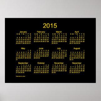 Kalender 2015 för neonguldvägg affischer