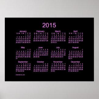 Kalender 2015 för neonlilavägg