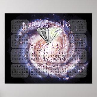 Kalender 2016 för galax för diamant för stjärna poster