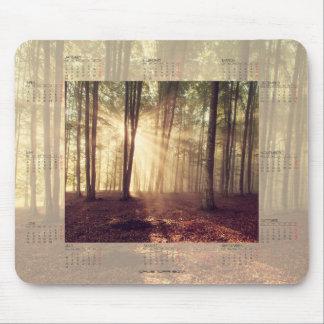 Kalender 2017 med solljus i skogen Mousepad Musmatta