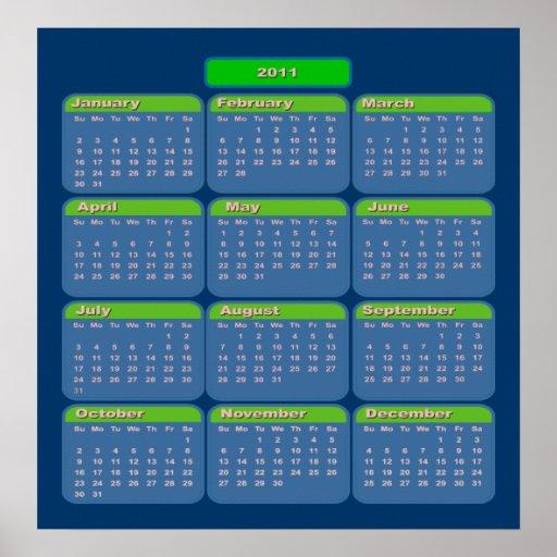 Kalender för 2011 affisch
