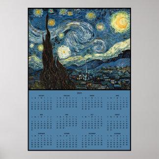 Kalender för ~ 2015 Vincent Van Gogh för Starry Poster