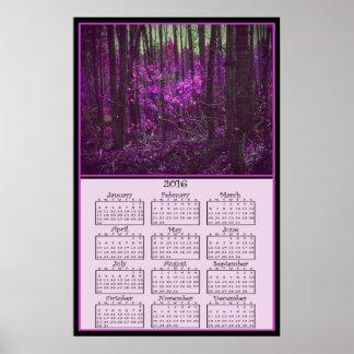 Kalender för 2016 bleknad lavendeldrömmar poster