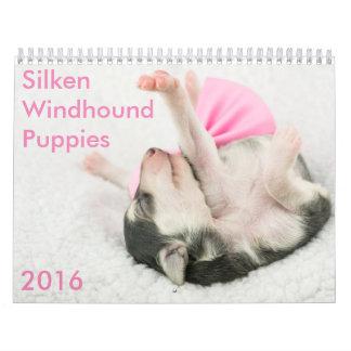 kalender för 5 2016 Silken Windhound valpar