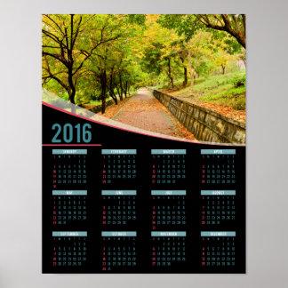 Kalender för affisch för höstträd 2016 poster