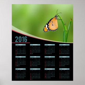 Kalender för affisch för monarkfjäril 2016 poster