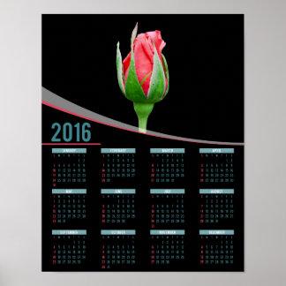 Kalender för affisch för rosa rosknopp 2016 poster