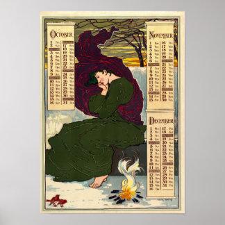 Kalender för art nouveau 1896 av Louis Rhead Poster