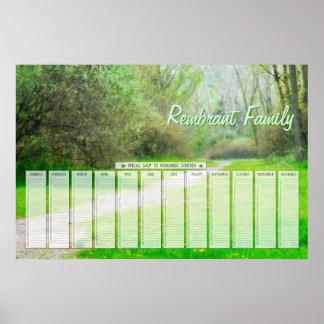Kalender för dagar för familj för vårskogenväg poster