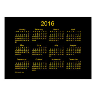 Kalender för neonguld 2016 vid den Janz affischen Poster