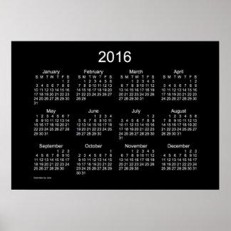 Kalender för neonvit 2016 vid den Janz affischen Poster
