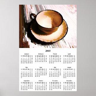 Kalender för vägg för Teakopp 2015 & Saucer Poster