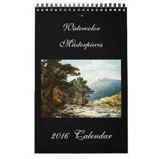 Kalender för vägg för vattenfärgkonst 2016 härlig