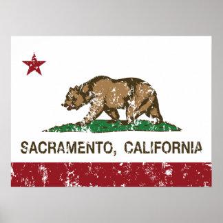 Kalifornien flagga bedrövade sacramento poster