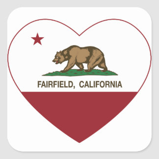 Kalifornien flaggafairfield hjärta fyrkantigt klistermärke