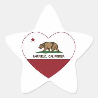 Kalifornien flaggafairfield hjärta stjärnformat klistermärke
