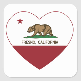 Kalifornien flaggafresno hjärta fyrkantigt klistermärke