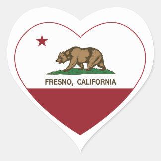 Kalifornien flaggafresno hjärta hjärtformat klistermärke