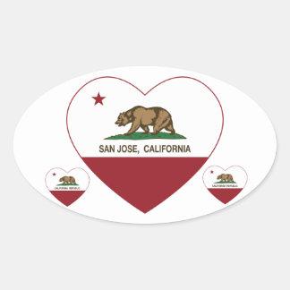 Kalifornien flaggaSan Jose hjärta Ovalt Klistermärke