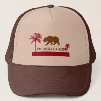 Kalifornien flaggaT-tröja - palmträd & strand Truckerkeps