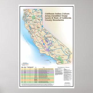 Kalifornien indiska kulturområden - karta poster