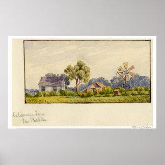 Kalifornien lantgård, nära Stockton Poster
