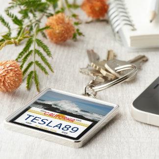 Kalifornien licens fyrkantig silverfärgad nyckelring
