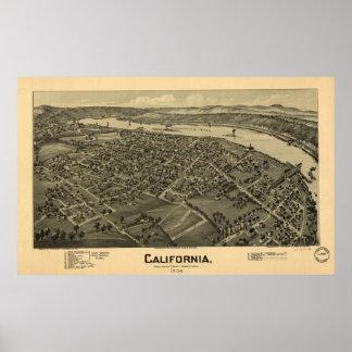 Kalifornien Pennsylvania 1902 antika panorama- Poster