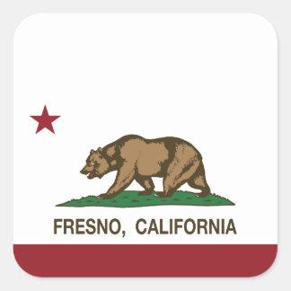 Kalifornien statlig flagga Fresno Fyrkantigt Klistermärke