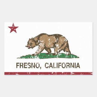 Kalifornien statlig flagga Fresno Rektangulärt Klistermärke