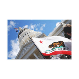 Kalifornien statlig huvudstad och flagga canvastryck