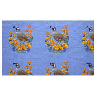 Kalifornien statliga fågelQuail & guld- vallmo Tyg