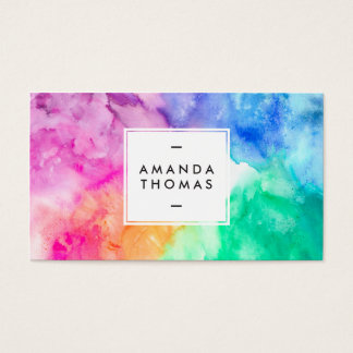 Kall abstrakt mång- färgvattenfärgmodern konst visitkort