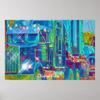 Kall affisch för konst för bilfraktbåtlastbilsföra