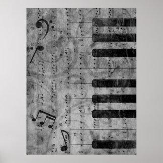 Kall antik grunge verkställer pianomusik noter poster