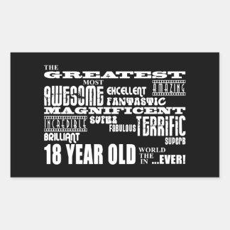 Kall årig födelsedagsfeststörsta 18 för roligt rektangulärt klistermärke