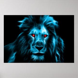 Kall blått som är lejon med blått, synar porträtt poster