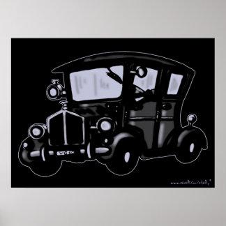 Kall design för vintage carkonstaffisch print