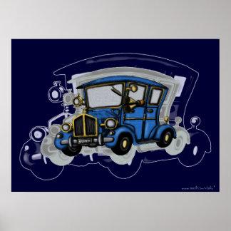 Kall design för vintage carkonstaffisch poster