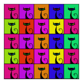 Kall färgrik kattungepopkonst kvadrerar poster