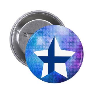 Kall Finland flaggastjärna Standard Knapp Rund 5.7 Cm