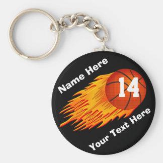 Kall flamma personligbasket Keychains Rund Nyckelring
