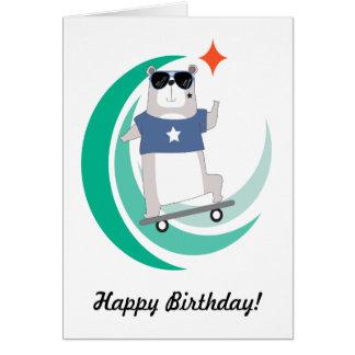 Kall födelsedag för HipsterSkateboardingbjörn Hälsningskort